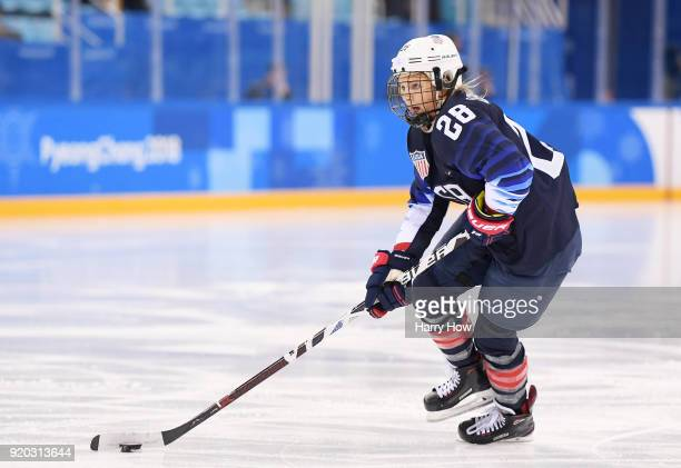 Amanda Kessel of the United States plays the puck against Finland during the Ice Hockey Women Playoffs Semifinals on day 10 of the PyeongChang 2018...