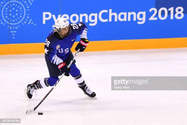 Amanda Kessel of the United States skates with the puck in the second period against Canada during the Women's Gold Medal Game on day thirteen of the...