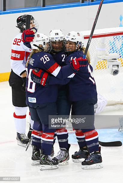 Amanda Kessel of United States celebrates after scoring her team's eighth goal during the Women's Ice Hockey Preliminary Round Group A game on day...