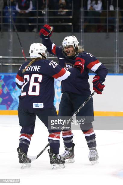 Amanda Kessel of United States celebrates with teammate Kendall Coyne of United States after scoring her team's third goal during the Women's Ice...