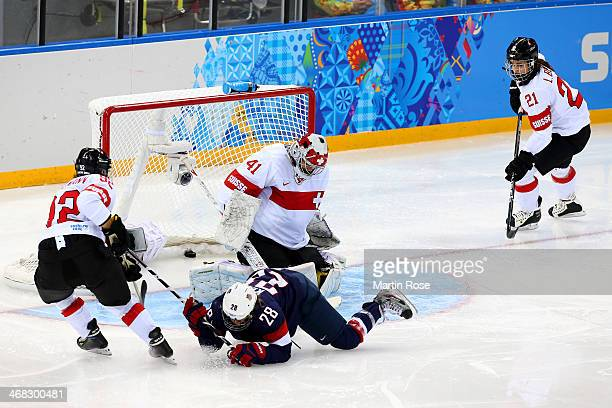 Amanda Kessel of United States scores her team's eighth goal during the Women's Ice Hockey Preliminary Round Group A game on day three of the Sochi...