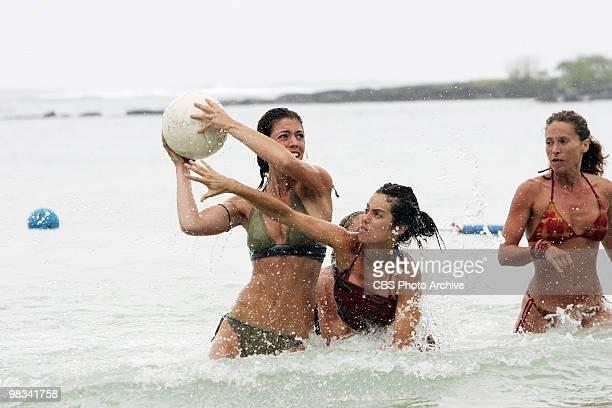 Amanda Kimmel Danielle DiLorenzo and Jerri Manthey during the reward challenge 'Basketbrawl' during the seventh episode of SURVIVOR HEROES VS...