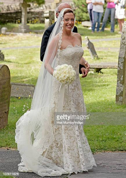 Amanda Kline arrives at St Edmund's Church for her wedding to Mark Dyer on July 3 2010 in Abergavenny Wales