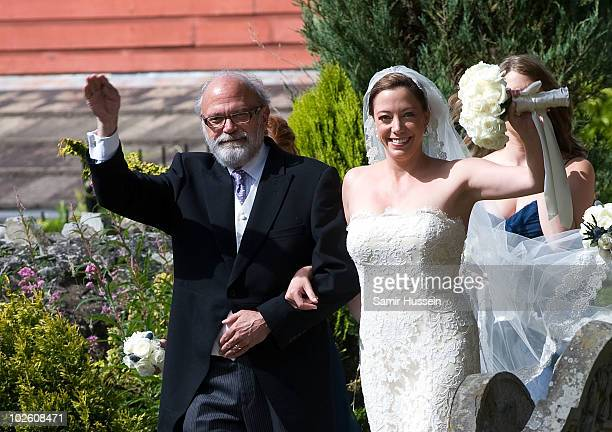 Amanda Kline arrives with her Father to marry former Royal Equerry Mark Dyer at St Edmund's Church on July 3 2010 in Abergavenny Wales