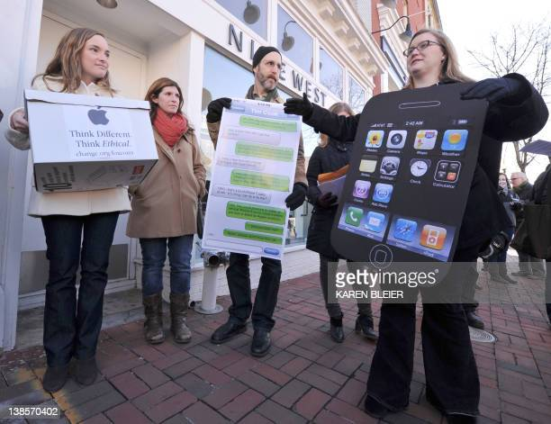 Amanda Kloer Director of Organizing at Campaign on Changeorg speaks to reporters during a protest in front of the Apple store in Washington DC on...