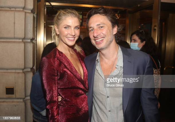 """Amanda Kloots and Zach Braff pose as the musical """"Waitress"""" re-opens on Broadway after the pandemic shutdown at The Barrymore Theater on September 2,..."""