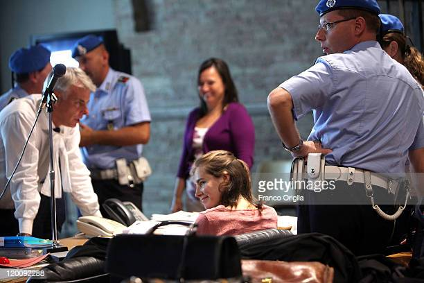 Amanda Knox and her mother Edda Mellas attend a session of her appeal against her murder conviction in Perugia's Court of Appeal on July 30 2011 in...