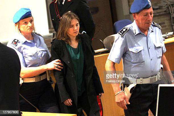 Amanda Knox arrives at Perugia's Court of Appeal the day of the verdict in her and Raffaele Sollecito's appeal of their murder convictions on October...
