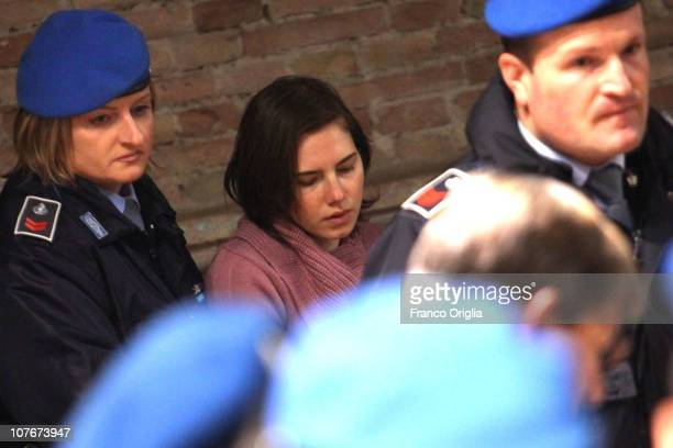 Amanda Knox arrives in Perugia's court of Appeal during a session of her appeal against her murder conviction on December 18 2010 in Perugia Italy...