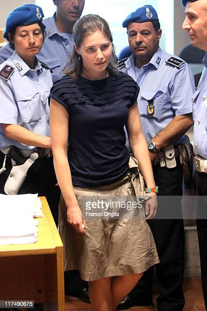 Amanda Knox arrives in Perugia's court of Appeal during the hearing of her appeal against her murder conviction on June 27, 2011 in Perugia, Italy....