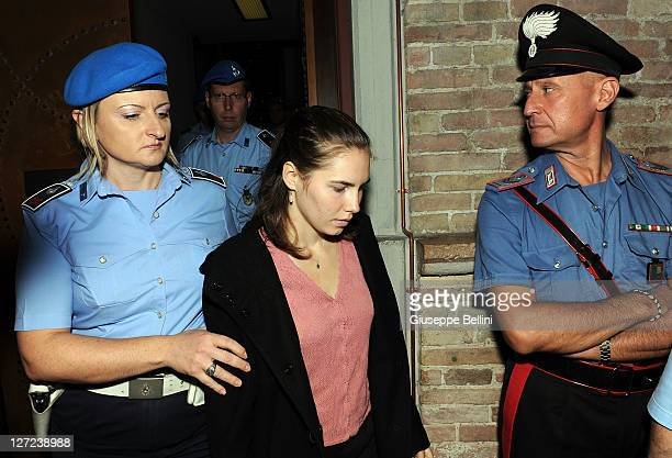 Amanda Knox attends her appeal hearing at Perugia's Court of Appeal on September 27, 2011 in Perugia, Italy. Amanda Knox and Raffaele Sollecito are...