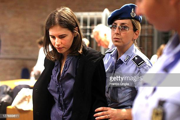 Amanda Knox attends her appeal hearing at Perugia's Court of Appeal on September 30, 2011 in Perugia, Italy. Amanda Knox and Raffaele Sollecito are...