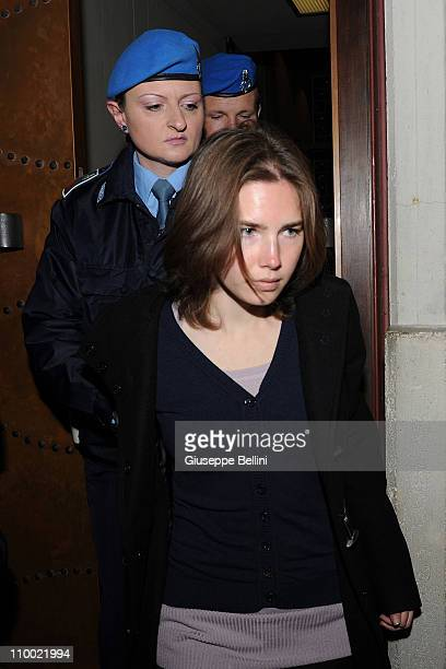 Amanda Knox attends her appeal hearing to reconsider her guilty verdict in the murder of Meredith Kercher, on March 12, 2011 in Perugia, Italy....