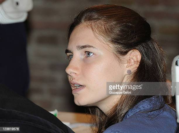 Amanda Knox attends her appeal hearing to reconsider her guilty verdict in the murder of Meredith Kercher on September 5 2011 in Perugia Italy The...