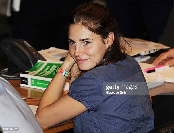 Amanda Knox attends her appeal hearing to reconsider her guilty verdict in the murder of Meredith Kercher at Perugia's Court of Appeal on September 5...