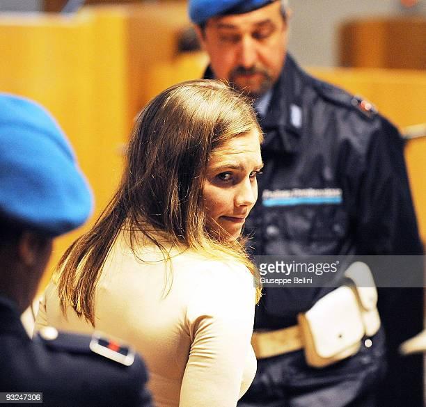 Amanda Knox attends the Meredith Kercher Trial on November 20 2009 in Perugia Italy Amanda Knox and her former Italian boyfriend Raffaele Sollecito...