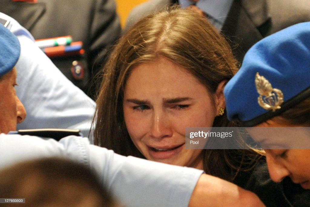 Amanda Knox and Raffaele Sollecito Win Their Appeal Against Their Conviction For The Murder Of Meredith Kercher : News Photo