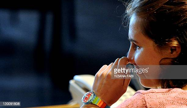 US Amanda Knox reacts during a session of her appeal trial in Perugia's courthouse on July 30 2011 An Italian court holds today a new hearing that...