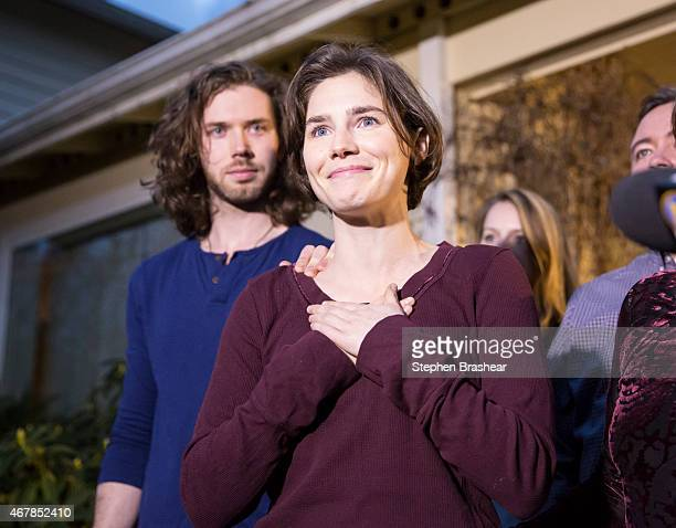 Amanda Knox speaks to the media during a brief press conference in front of her parents' home March 27, 2015 in Seattle, Washington. Knox and...