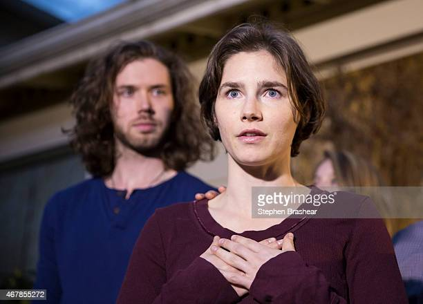 Amanda Knox speaks to the media during a brief press conference in front of her parents' home March 27 2015 in Seattle Washington Knox and Raffaele...