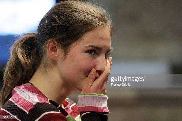 Amanda Knox waits for the start of the Meredith Kercher murder trial at the Perugia courthouse on March 13 2009 in Perugia Italy Amanda Knox and her...