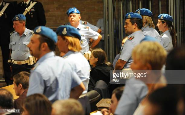 Amanda Knox waits to hear the verdict of her appeal against her murder conviction in Perugia's Court of Appeal on October 3, 2011 in Perugia, Italy....