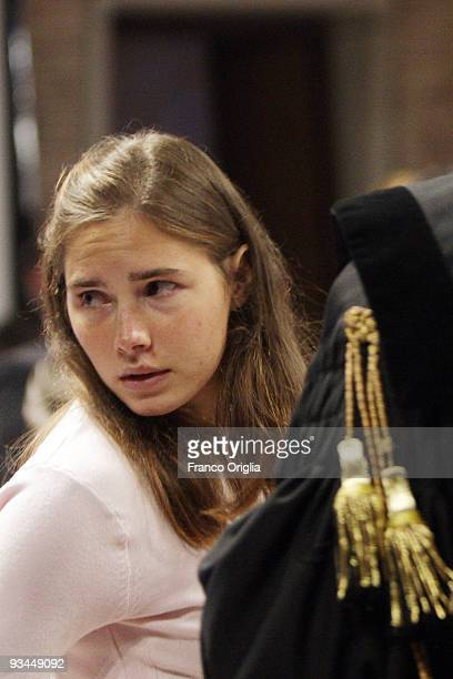 Amanda Knox who is accused of murdering British student Meredith Kercher attends the civil parties summing up during her murder trial at the Perugia...