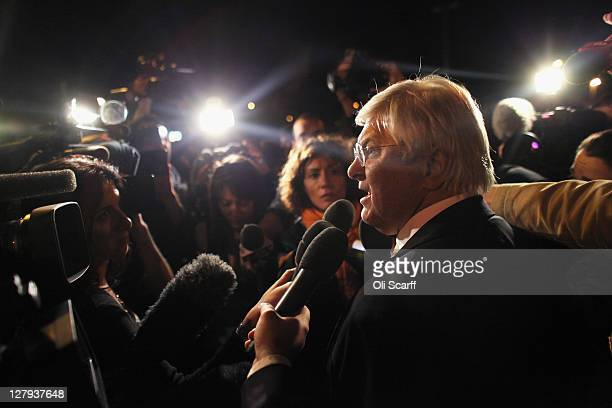 Amanda Knox's lawyer Luciano Ghirga speaks outside the prison that housed Amanda Knox following her successful appeal against her murder conviction...