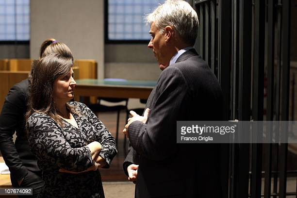 Amanda Knox's mother Edda Mellas and lawyer of Amanda Knox Carlo Della Vedova attend the appeal hearing of Amanda Knox over the guilty verdict in the...