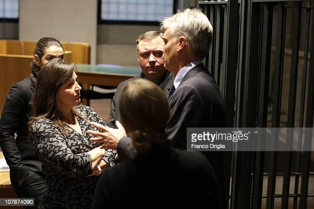 Amanda Knox's mother Edda Mellas , her husband Chris Mellas and lawyer of Amanda Knox Carlo Della Vedova attend the appeal hearing of Amanda Knox...