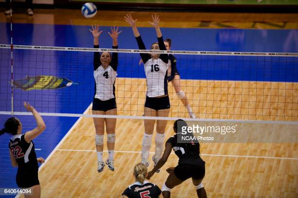 Amanda Konetchy and Cassie Haag of Concordia St Paul block against Tampa during the Division II Women's Volleyball Championship held at Knights Hall...