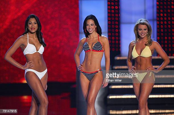 Amanda Kozak Miss Georgia Emily Wills Miss Pennsylvania and Lauren Nelson Miss Oklahoma pose during the swimsuit competition during the 2007 Miss...