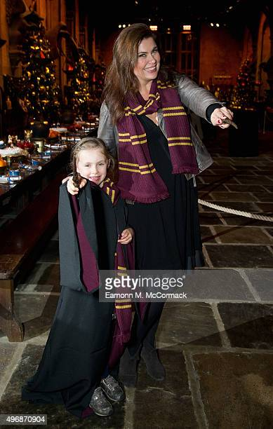 Amanda Lamb and Daughter attend the Hogwarts In The Snow - VIP Preview at Warner Bros. Studio Tour London on November 12, 2015 in Watford, England.