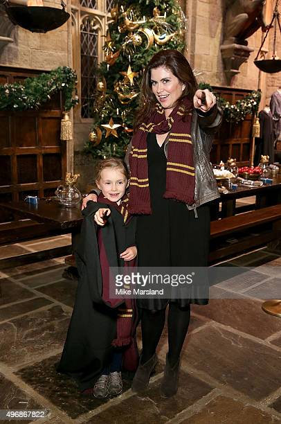 Amanda Lamb and daughter Willow attend the Launch Of Hogwarts In The Snow at Warner Bros. Studio Tour London on November 12, 2015 in Watford, England.