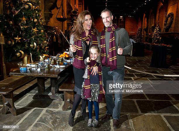 Amanda Lamb and family attend the Hogwarts In The Snow - VIP Preview at Warner Bros. Studio Tour London on November 12, 2015 in Watford, England.