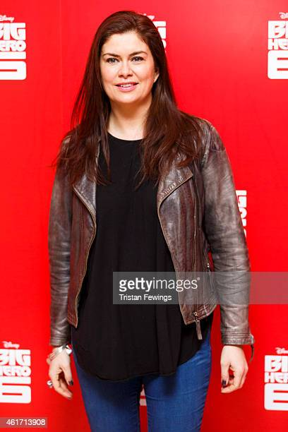 """Amanda Lamb attends a photocall for Disney's """"Big Hero 6"""" at Odeon Leicester Square on January 18, 2015 in London, England."""