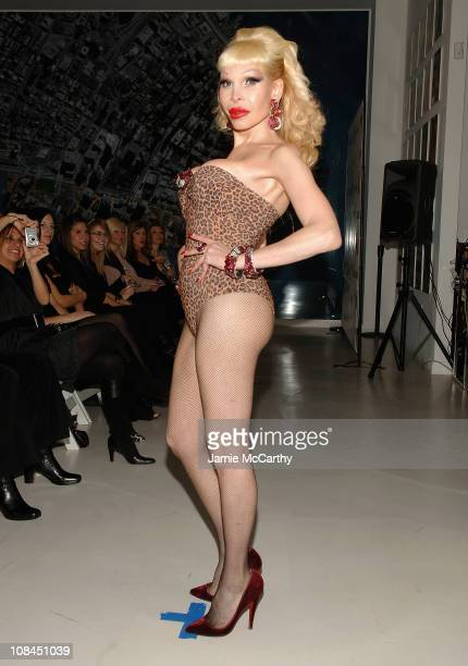 Amanda Lapore walking in the New York Aids Film Festival Red Ball Fashion Show at The Riverhouse Sales and Discovery Center in New York December 12007