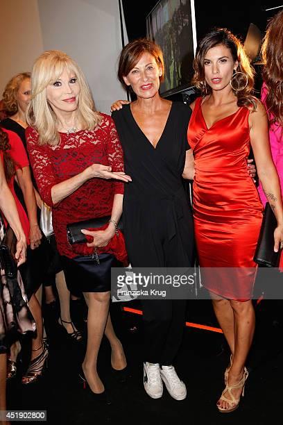 Amanda Lea Eva Lutz and Elisabetta Canalis attend the Minx by Eva Lutz show during the MercedesBenz Fashion Week Spring/Summer 2015 at Erika Hess...