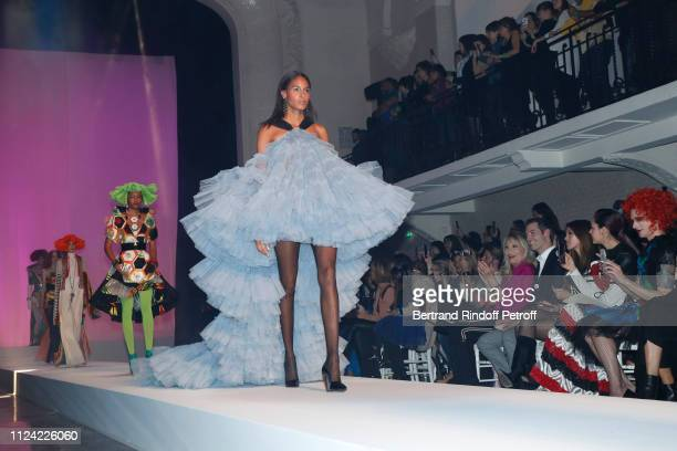 Amanda Lear a guest Iris Mittenaere Chompoo Araya Hargate and Miss Fame attend the JeanPaul Gaultier Haute Couture Spring Summer 2019 show as part of...