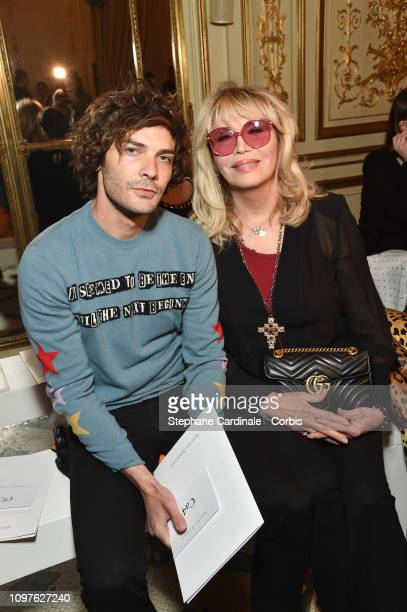 Amanda Lear and a guest attend the Antonio Grimaldi Haute Couture Spring Summer 2019 show as part of Paris Fashion Week on January 21 2019 in Paris...