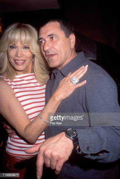 Amanda Lear and Bigard during Beatrice Ardisson India Party at Castel club in Paris France