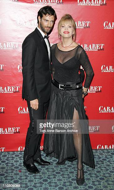 Amanda Lear and Boyfriend during 'Cabaret' Le Musical de Broadway Live Premiere Arrivals at Les Folies Bergeres in Paris France
