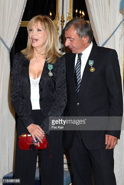 Amanda Lear and Enrico Navarra during Amanda Lear and Enrico Navarra Receive the Chevaliers des Arts et des Lettres Medal at Ministere de La Culture...
