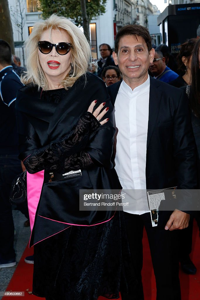Amanda Lear and Jacques Dermi attend the 'Le nouveau Stagiare' (The Intern) movie Premiere to Benefit 'Claude Pompidou Foundation', held at Cinema 'UGC Normandie' on September 29, 2015 in Paris, France. Screenng followed by a Dinner