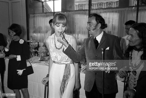 Amanda Lear and Salvador Dali in Paco Rabanne In France On May 19 1968