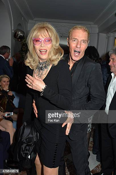 Amanda Lear and Tony Gomez attend the 'Neo Burlesque Party' At Hotel Vernet on March 20 2014 in Paris France