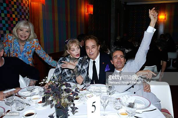 """Amanda Lear, Arielle Dombasle, Gilles Dufour and Vincent Darre attend the Dinner following the Private View of """"Francoise Sagan, Photographer"""" :..."""