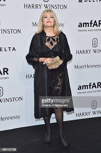 Amanda Lear arrives at amfAR Milano 2015 at La Permanente on September 26 2015 in Milan Italy