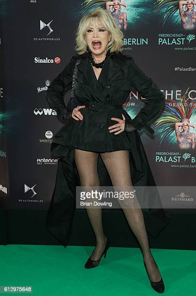 Amanda Lear arrives at the 'THE ONE Grand Show' premiere at FriedrichstadtPalast on October 6 2016 in Berlin Germany