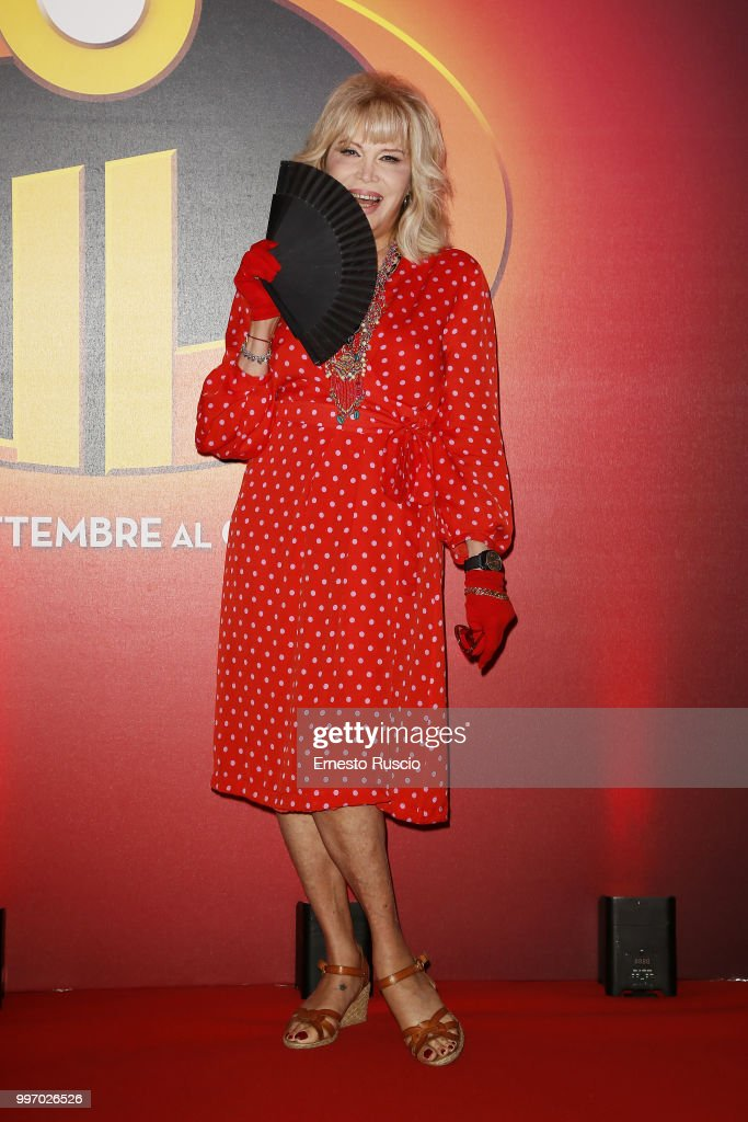 Amanda Lear attends the 'Gli Incredibili 2' photocall at Hotel De Russie on July 12, 2018 in Rome, Italy.